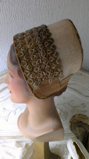 Antique victorian straw bonnet with beads and pearls