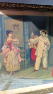 Set of 2 antique litho's Pagliacci-Pierrot-Theatre