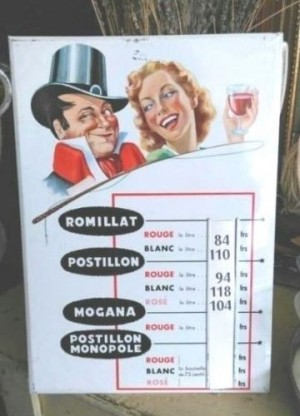 advertising tin sign .POSTILLON wine products
